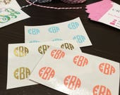 "Monogram Minis (1/2"" circle decals) - Set of 6, 10 or 20 - use on sunglasses, pens/pencils, phone/tablet cases and more!"