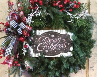 Merry Christmas Wreath-Christmas Wreath-Evergreen Wreath-Christmas Mantle Wreath-Christmas Decor-Corrugated Tin Merry Christmas Sign-