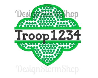 Girl Scout Applique Trefoil Design/Split Machine Embroidery Frame/Instant Download File