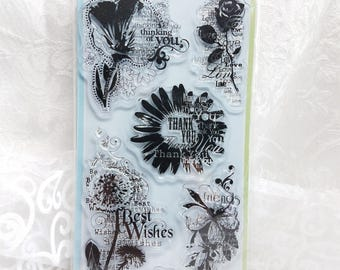 Inkadinkado Flower Sentiments Cling rubber stamps, Thank you clear stamp, Best Wishes Clear stamp, Congratulations stamp Collage Art Journal