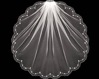 Beaded Crystal Scallop Floral Vine Fingertip Length Wedding Veil