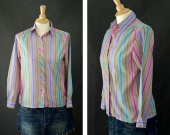 Vintage Button Up Blouse, 70s Multi Color Stripped Blouse, Long Sleeve Pastel Shirt, Women's Summer Blouse Size Small, Secretary Blouse