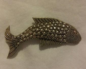 Vintage Sterling Silver Marcasite Fish Brooch