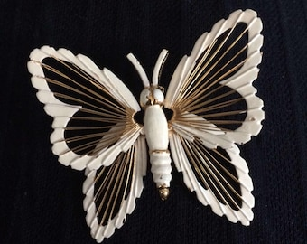 Vintage Monet White Enamel Gold Tone Butterfly Brooch