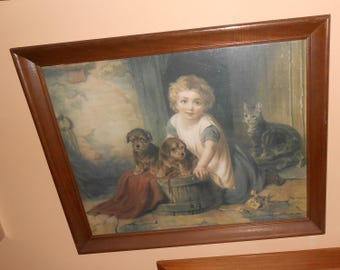 Little Girl w Kittens Cats Print Vintage Wall Art Frame 20.5 x 16.5
