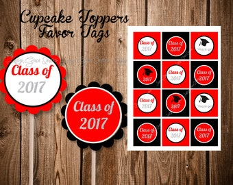 Cupcake Toppers for Graduation, Red Black and White Instant Download, Digital Printable, Favor Tags