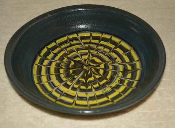 Serving Dish, Platter, Serving Bowl, Textured, Stoneware, Ceramic Platter, Blue, Yellow, Dark Green, Kitchen,