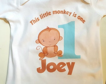 1st birthday monkey outfit | This little monkey is 1 | monkey one outfit