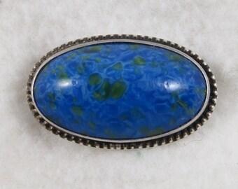 Sterling Silver Oval Blue Green Stone Azurite Malachite Brooch Pin