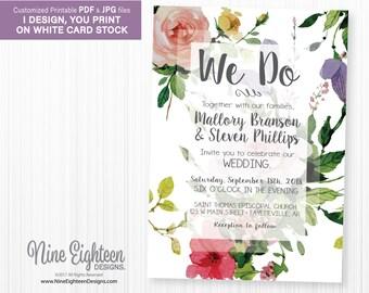 Floral Wedding Ceremony INVITATION. We Do. Customized JPG/PDF.