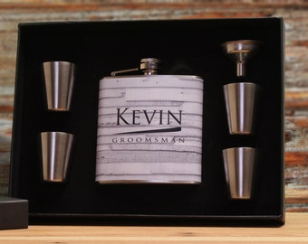 Groomsman Flask Set, Personalized Flask Set for Groomsmen, Ushers and Best Men, White, Gray, Rustic Wedding