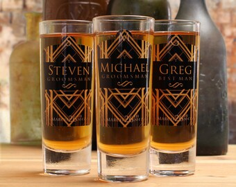 Groomsmen Shot Glasses, Set of 3, Personalized Shot Glasses, Art Deco, Groomsmen Gifts
