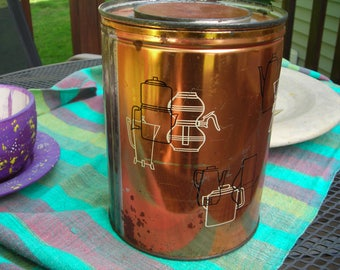 Vintage Mid-Century Coffee Can Tin / Canister. Key Wind.