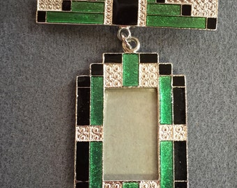 Green and Black Enameled Deco- style Picture Frame Brooch.  Free shipping