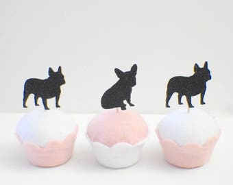 French Bulldog cupcake toppers, dog cupcake toppers (12 toppers)