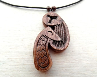SAINT FRANCIS and WOLF pendant   / handcarved on maple wood