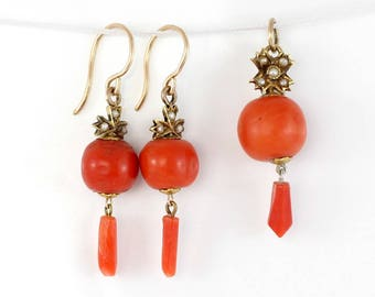 Vintage Coral Earring and Pendant Set, Edwardian Coral Jewellery, Coral Dangle Earrings, Coral Drop Pendant, Coral Gold and Pearl
