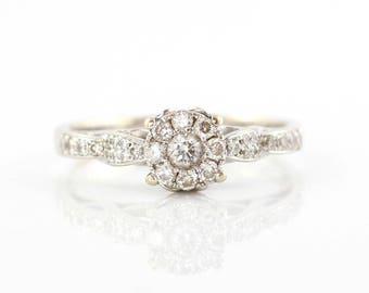 White Gold Diamond Cluster Ring, Diamond Ring, 18ct White Gold Diamond Engagement Ring, Diamond Ring