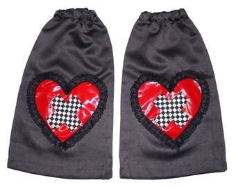 ALICE Queen of hearts black red checkered cross leg warmers festivals COSPLAY costume 80s 90s festival raver