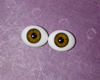 Doll Eyes 22mm Glass Oval Hazel Light Brown Reborn or Silicone Baby