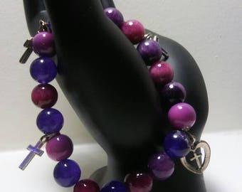 Religious Bracelet, Lavender Bracelet,  Cross Charms Bʀaċɛʟɛt, Bɛaɖɛɖ ɮʀaċɛʟɛt,Charm Bracelet, Purple Bracelet.