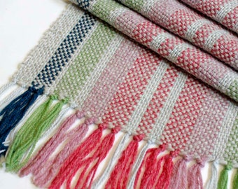 Handwoven Table Runner, Colorful Runner, Rainbow Colored, Striped Table Linens, Table Decor, Place Setting, Woven Table Runner, Lightweight