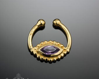 Unique Fake Septum Ring With Amethyst- Fake Septum Jewelry- Faux Septum Ring- Fake Nose Piercing - Nose Cuff
