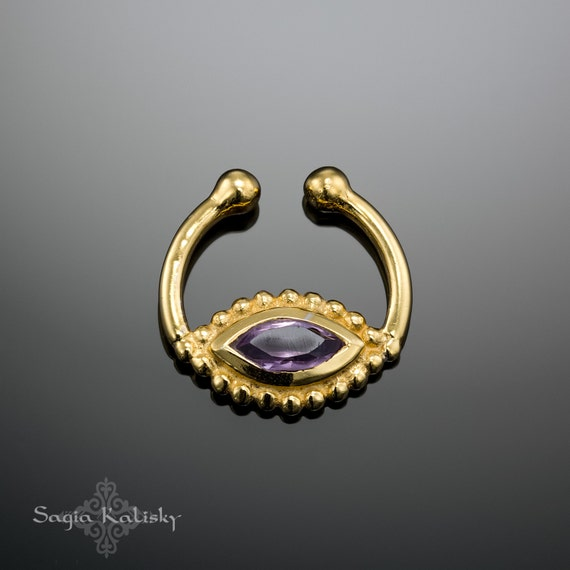 Unique fake septum ring with amethyst fake septum jewelry - Decorative septum jewelry ...