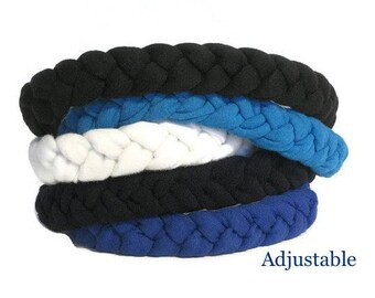 T-shirt Headbands Adjustable Fabric Braided Headbands / Soft Fitness Headband Fitness Gift- Best Headbands- black navy aqua cream