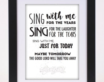 Aerosmith 'Dream On' Printed Lyrics Poster - available in A4 and A3 // Gift Ideas // Rock // Typography