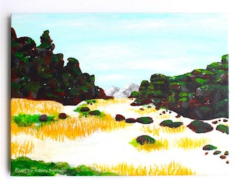 Original Iceland Landscape Acrylic Painting of Þingvellir National Park, the Valley Between Two Tectonic Plates, 2 of 4 from the Series