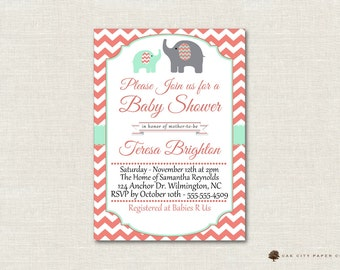 Mint Coral Baby Shower Invitation, Elephant Baby Shower Invitation, Elephant Baby Shower Invitation, Mint, Coral, Turqoise, Printable, DIY