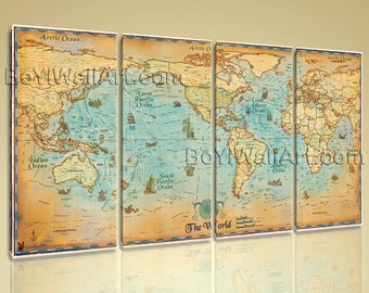 Yuma map art etsy huge world map global hd canvas print retro giant picture wall art decor 99x60 sciox Images