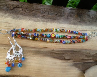 multi color millefiori glass bracelet and earring set
