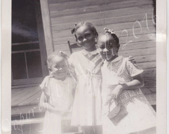 Three cute girls Vintage African American photograph