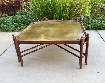 Mid Century Chapman Style Faux Bamboo Chinoiserie Brass Tray Coffee Table