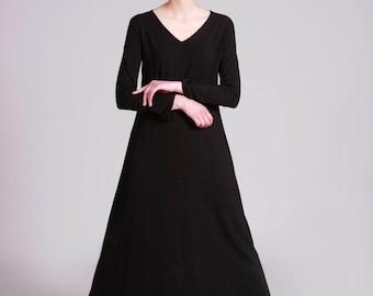 Maxi Dress, Black Dress, A line, Loose Fit, Long Sleeve Dress, V Neck, Maxi Boho Dress, Cotton Dress, Black gown
