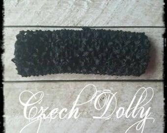 """Crochet Headband 1.5"""" Black"""