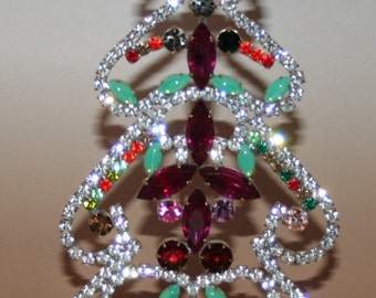 Rhinestone Vintage Christmas Tree Table-Top Brilliant Sparkly