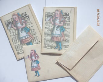 Alice in Wonderland cards with matching envelopes