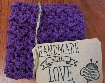 Crocheted purple washcloth/dishcloth