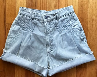 Vintage Grey Chambray Denim Cutoff Shorts