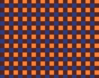 Navy, orange and dark brown check craft  vinyl pattern sheet - HTV or Adhesive Vinyl -  htv3415