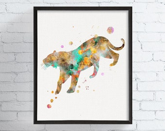 Watercolor Tiger Print, Bengal Tiger Art, Tiger Painting, Tiger Illustration, Jungle Animal, Wildlife Art, Safari, Kids Room, Nursery,Framed