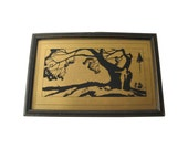 Art Deco Reverse Painted Silhouette Of Women Watching Sailors - Gold and Black Silhouette - Vintage Home Decor - Vintage Wall Hanging