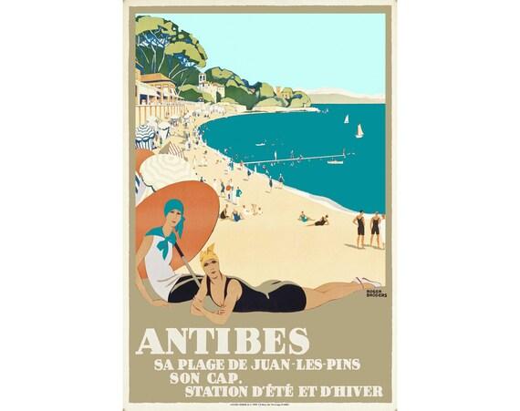 antibes france cote d 39 azur travel poster sa plage de juan. Black Bedroom Furniture Sets. Home Design Ideas