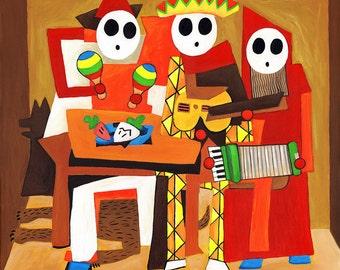 Three Mariachi Guys - Shy Guy Painting - Pablo Picasso Print - Alternative Three Musicians - Nintendo Video Game Fan Art - Parody Art Print