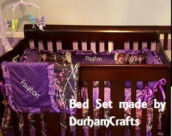 6pc Muddy Girl Camouflage Fabric with Purple and Pink Ruffled Bedding Set