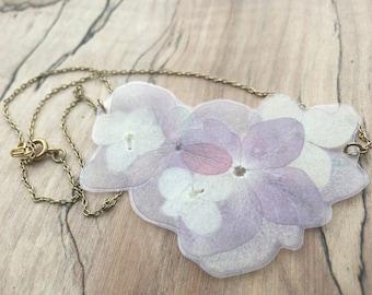 Purple Hydrangea - Pressed Flower Necklace