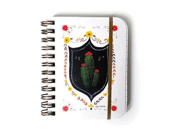 Cactus Small Notebook, Small Cactus Journal, Cactus Spiral Notebook, Cactus Illustration, Cactus Print